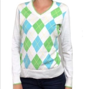 Lilly Pulitzer checkered v neck  sweater Med (C2)